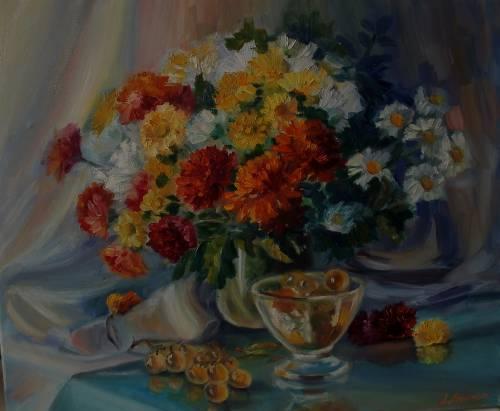Лариса Любчик.Цветы м виноград.