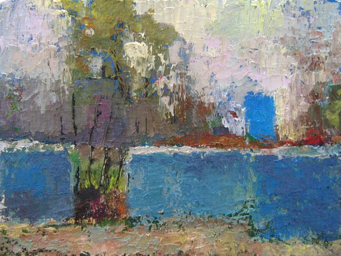 дом, дверь, голубая, пейзаж