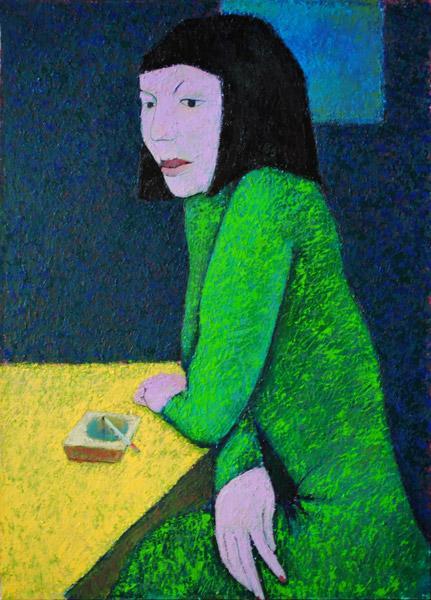 курит, зеленое платье, дама, богема