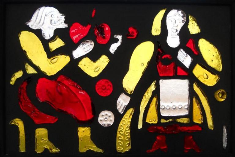 """Витраж """"Песня"""" 57 x 88  1985 г литое цветное стекло"""