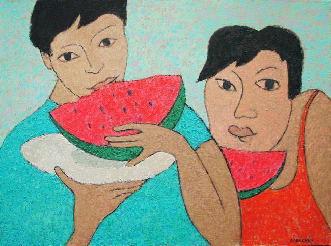 sea, slntse, tasty, amateurs, watermelons
