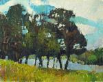 левый берег, небо, трава, деревья, берег